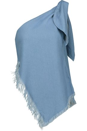 MARQUES ' ALMEIDA One-shoulder frayed metallic denim top