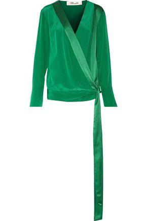 DIANE VON FURSTENBERG Silk satin-trimmed silk-crepe de chine wrap blouse