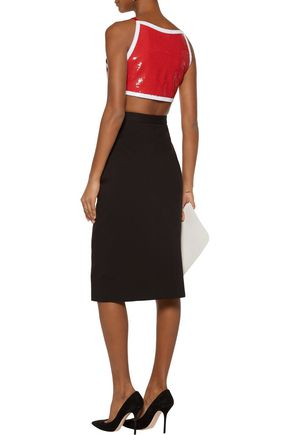 MOSCHINO Cropped sequined crepe top