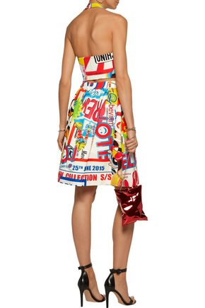 MOSCHINO Cropped printed cotton-blend faille top