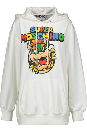 MOSCHINO Printed ponte hooded sweatshirt