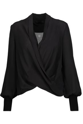 ALICE + OLIVIA Elisha draped wrap-effect silk-satin blouse