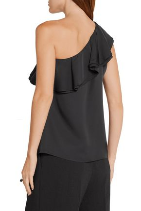 THEORY Damarill one-shoulder ruffled silk top