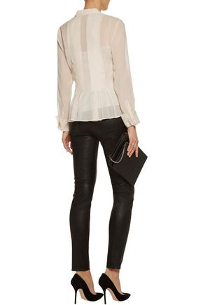 THEORY Pintucked pleated silk-georgette shirt