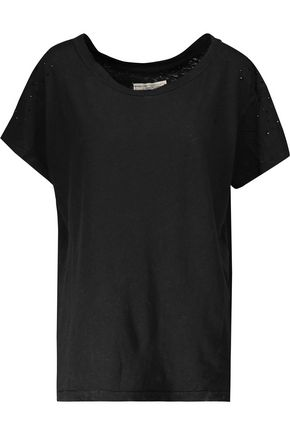 CURRENT/ELLIOTT Printed linen and cotton-blend jersey T-shirt