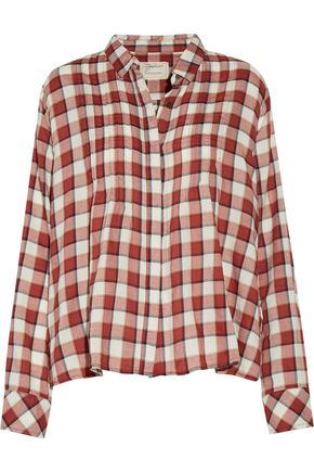 CURRENT/ELLIOTT The Lucy pintucked plaid cotton-blend shirt