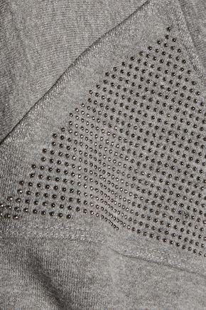 CURRENT/ELLIOTT The Seamed stud-embellished marled cotton-blend sweatshirt