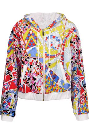 EMILIO PUCCI Printed cotton-blend terry hooded sweatshirt