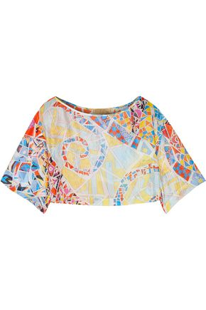 EMILIO PUCCI Cropped printed silk-gauze top