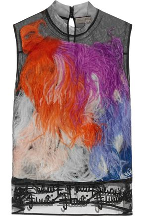 EMILIO PUCCI Faux feather-embellished tulle top