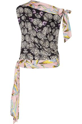 EMILIO PUCCI Printed silk-satin twill top