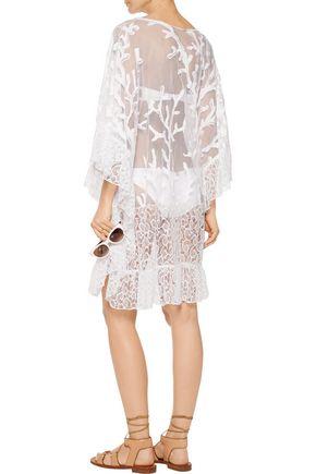 EMILIO PUCCI Lace-trimmed embroidered cotton-blend mesh kaftan