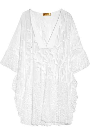 EMILIO PUCCI Lace-trimmed embroidered cotton-blend mesh kaftan