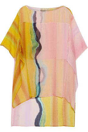 EMILIO PUCCI Layered printed silk-seersucker top