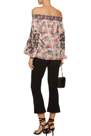 EMILIO PUCCI Off-the-shoulder smocked printed cotton-voile top