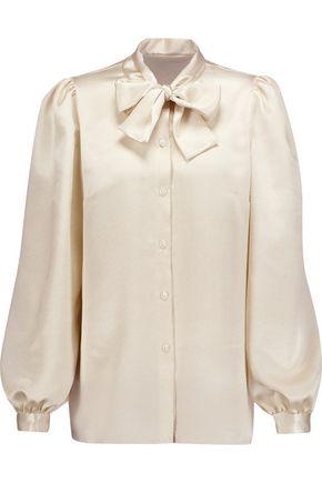 DOLCE & GABBANA Metallic pussy-bow cloqué  blouse