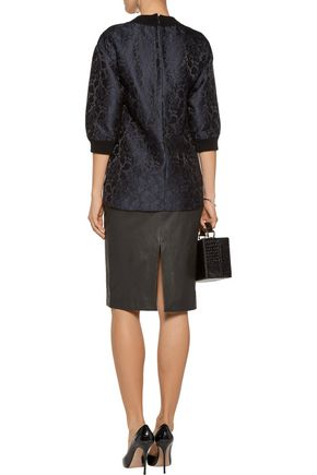 DOLCE & GABBANA Ribbed knit-trimmed brocade top