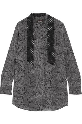 EQUIPMENT + Kate Moss Daddy scarf-effect printed washed-silk blouse