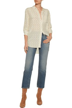 EQUIPMENT + Kate Moss Daddy printed washed-silk blouse