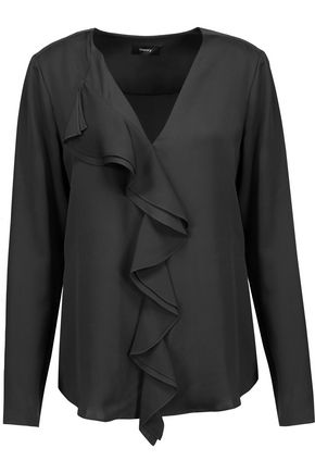 THEORY Jastrid ruffled silk crepe de chine top