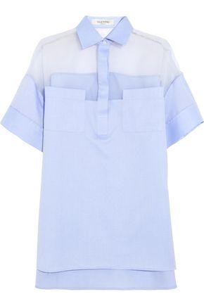 VALENTINO Silk organza-paneled cotton-poplin shirt