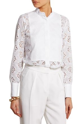 VALENTINO Broderie anglaise cotton shirt
