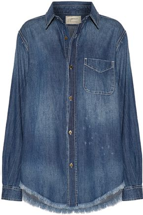 CURRENT/ELLIOTT The Prep School frayed distressed denim shirt