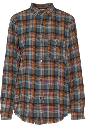 CURRENT/ELLIOTT The Prep School fringed plaid cotton-flannel shirt