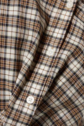 CURRENT/ELLIOTT The Harper metallic plaid voile shirt