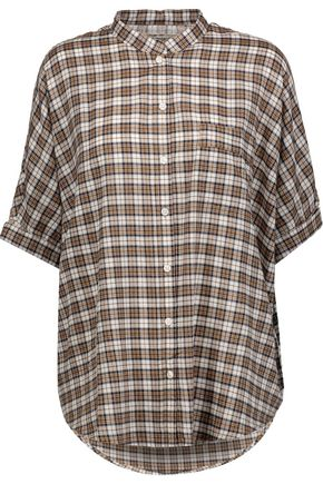 CURRENT/ELLIOTT The Harper metallic plaid voile shirt