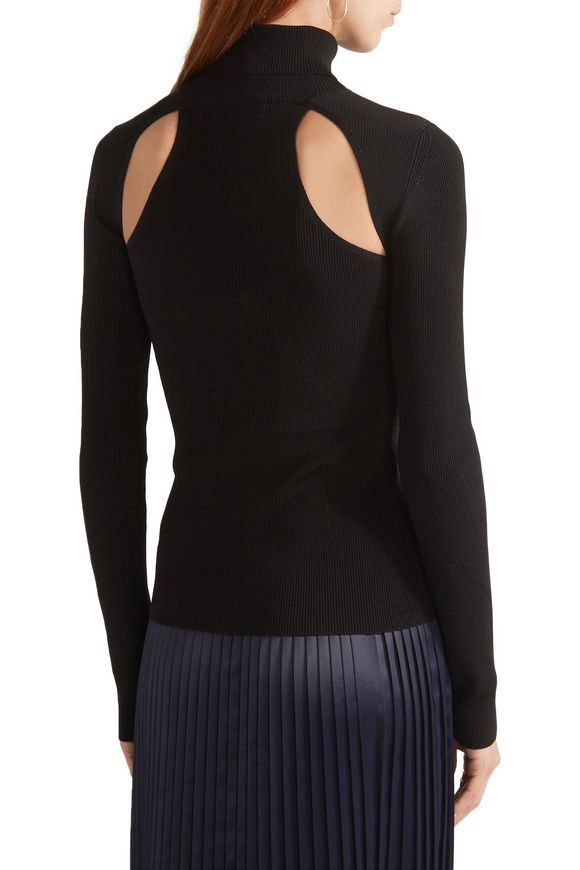 Renner cutout ribbed stretch-knit turtleneck top   ELIZABETH AND JAMES    Sale up to 70% off   THE OUTNET