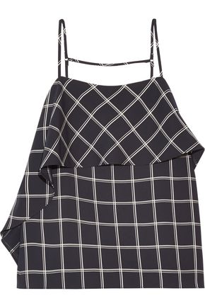 ELIZABETH AND JAMES Abby ruffled checked crepe top
