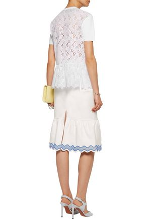 VALENTINO Stretch-knit and broderie anglaise top