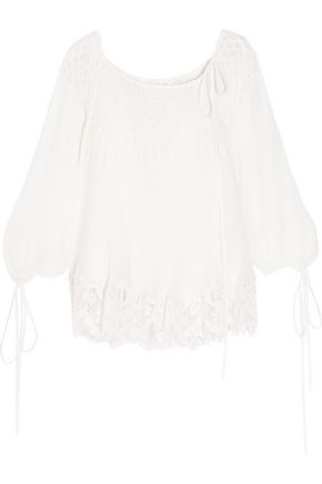 CHLOÉ Off-the-shoulder paneled georgette top
