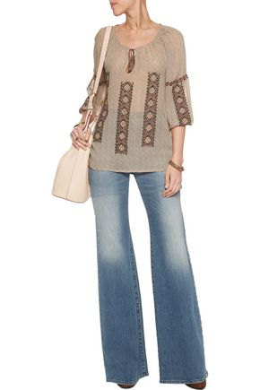 JOIE Embroidered printed silk-georgette blouse