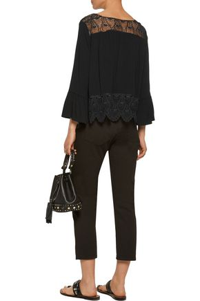SANDRO Corded lace-paneled crepe top
