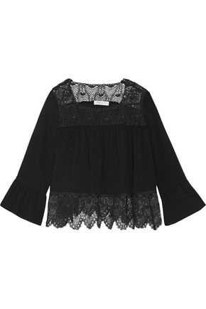 SANDRO Paris Corded lace-paneled crepe top