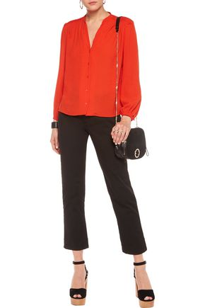 MAJE Pintucked crepe blouse