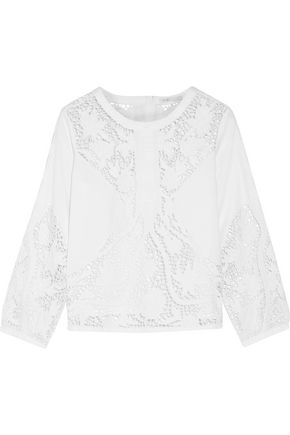 MAJE Legana broderie anglaise cotton-poplin top