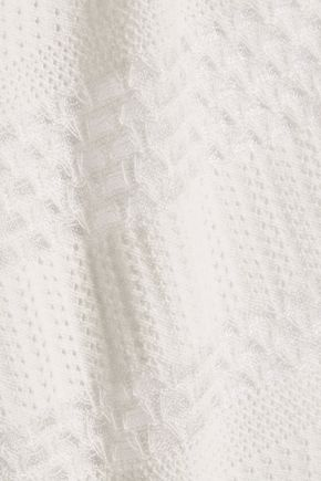 MAJE Paneled open and pointelle-knit cotton-blend top