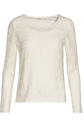 MAJE Luna lace and ribbed-knit top