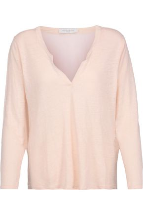 SANDRO Ting silk-trimmed linen and crepe top