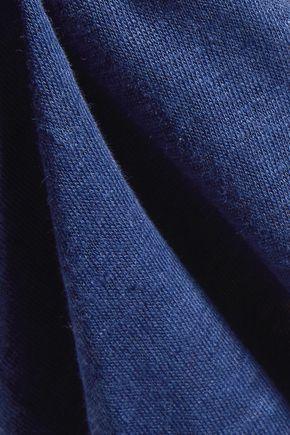 SANDRO Trilce cutout silk-trimmed slub linen-jersey top
