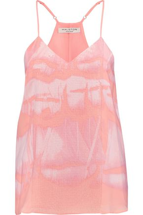 HALSTON HERITAGE Sequin-embellished printed crepe de chine camisole