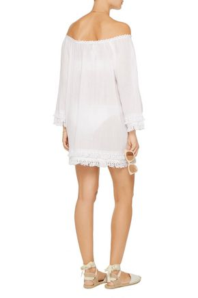 MIGUELINA Tammy off-the-shoulder tasseled cotton-gauze coverup