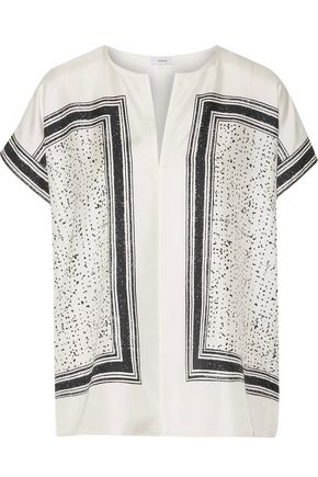 VINCE. Printed silk-twill top