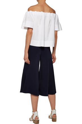 VINCE. Off-the-shoulder cotton-poplin top