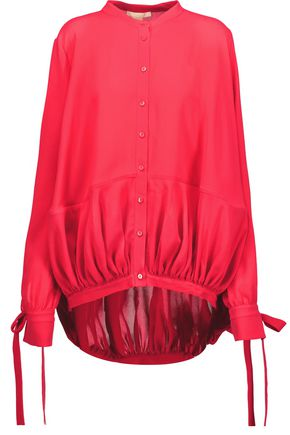 ANTONIO BERARDI Gathered silk-crepe blouse
