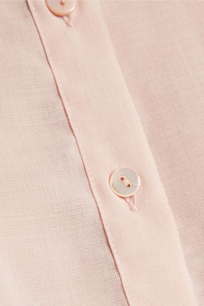 ANTONIO BERARDI Asymmetric gathered wool-gauze shirt