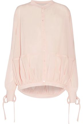 ANTONIO BERARDI Asymmetric gathered wool-gauze shirt